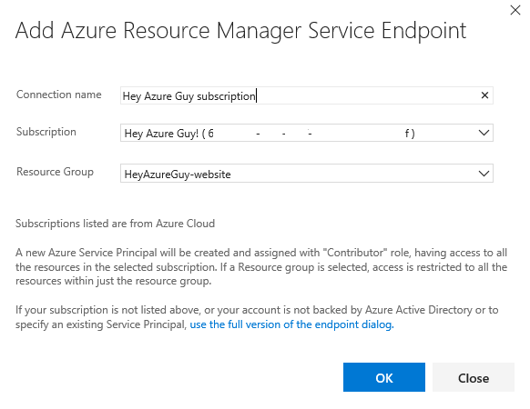 Service Endpoint dialog
