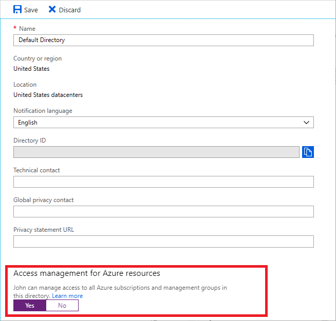 """Switch 'Access management for Azure resources' to """"Yes"""""""